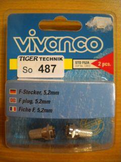 Vivanco DIY SAT Video 2 Stück 2x F-Stecker für Koax-Kabel 5,2mm* so487