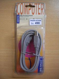 BigBalloon USB Kabel grau 1,8m Typ A Stecker - Typ B Stecker *so490