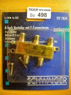 Schwaiger VTF 7824 SAT Verteiler 4 fach 1x In 4x Out Frequenzen 5-862MHz* so498
