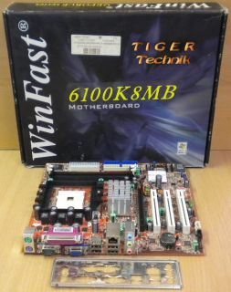 Foxconn Winfast 6100K8MB Rev 1.0 Mainboard +Blende in OVP Sockel 754 PCIe* m599
