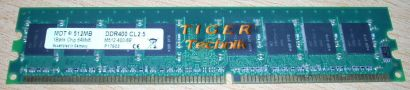 MDT M512-800-8 512MB PC2-6400 DDR2 800MHz CL5 1Bank Chip 64Mx8* r56