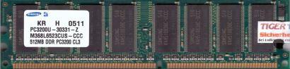 Samsung M368L6523CUS-CCC 512MB DDR1 400MHz PC3200U-30331-Z Arbeitsspeicher* r67