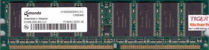 Qimonda HYS64D64300HU-5-C PC3200U-30331-A0 512MB DDR1 400MHz Arbeitsspeicher*r71