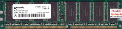 Qimonda HYS64D64300HU-5-C PC-3200 512MB DDR1 400MHz Arbeitsspeicher RAM* r71