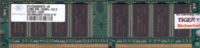 Nanya NT512D64S8HB1G-6K PC2700U-25330 CL2 5 512MB DDR1 333MHz RAM* r160