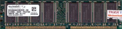 Swissbit SDU06464C3B22IN-6A PC2700 512MB DDR1 333MHz Arbeitsspeicher* r198