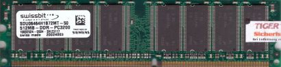 Swissbit SDU06464H1B72MT-50 PC-3200 512MB DDR1 400MHz Arbeitsspeicher RAM* r199