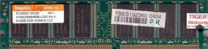 Hynix HYMD264646B8J-D43 AA-A PC-3200 512MB DDR1 400MHz Arbeitsspeicher RAM* r208