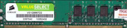 Corsair ValueSelect VS1GB667D2 PC2-5300 1GB DDR2 667MHz Arbeitsspeicher RAM*r222