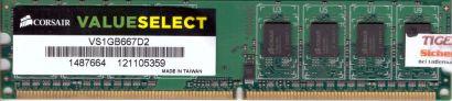 Corsair ValueSelect VS1GB667D2 PC2-5300 1GB DDR2 667MHz Arbeitsspeicher RAM*r223