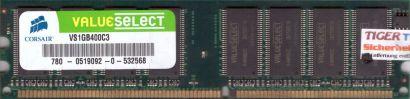 Corsair VS1GB400C3 PC-3200 1GB DDR1 400MHz Arbeitsspeicher RAM* r226