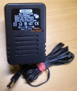 AMIGO AM-1200700W AVM02046 AC Adapter 12V 700mA Netzteil* nt757