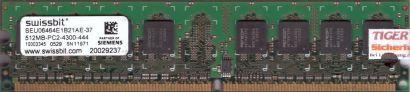 Swissbit SEU06464E1B21AE-37 PC2-4300 512MB DDR2 533MHz Arbeitsspeicher RAM* r232