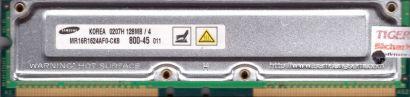 Samsung MR16R1624AF0-CK8 800-45 PC800 128MB 4 RDRAM 800MHz Rambus RIMM* r240