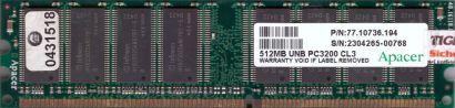Apacer 77 10736 194 PC3200 CL3 512MB DDR1 400MHz Arbeitsspeicher* r245