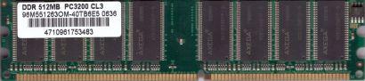 Axega 96M551263OM-40TB6E5 PC-3200 512MB DDR1 400MHz Arbeitsspeicher RAM* r263