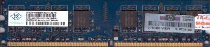 Nanya NT1GT64U8HB0BY-3C PC2-5300U 1GB DDR2 667MHz 0734 X2 MY RAM* r343