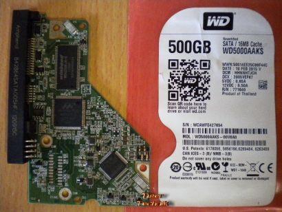 WD Caviar WD5000AAKS 00V6A0 SATA 500GB PCB Controller Elektronik Platine* fe05