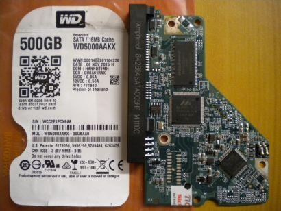 WD Caviar WD5000AAKX-00U6AA0 SATA 500GB PCB Controller-Elektronik Platine* fe10