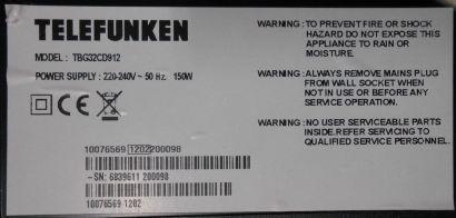 Telefunken TBG32CD912 Kabelsatz IR Platine E300226 Bedienmodul 20571297* e02