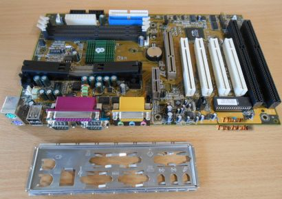 Chaintech 6ATA2-E100A Mainboard +Blende Slot 1 Apollo133A 2x ISA AGP Audio*m709