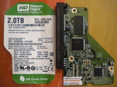 Western Digital WD20EARX SATA 2.0 TB PCB Controller Elektronik Platine* fe101
