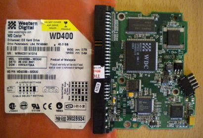 WD Caviar WD400BB-32CXA0 IDE 40GB PCB Controller Elektronik Platine* fe102