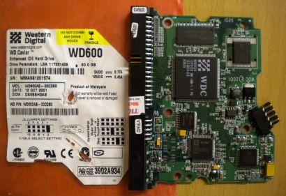 WD Caviar WD600AB-00CDB0 IDE 60GB PCB Controller Elektronik Platine* fe120
