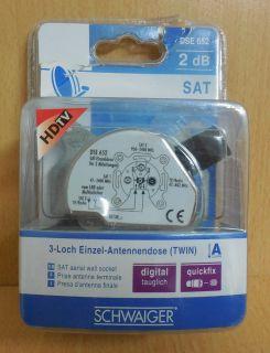 Schwaiger 3-loch Einzel-Antennendose TWIN 2dB HD digital tauglich quickfix*So525