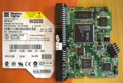 WD Caviar WD200BB-75CLB0 IDE 20GB PCB Controller Elektronik Platine* fe126