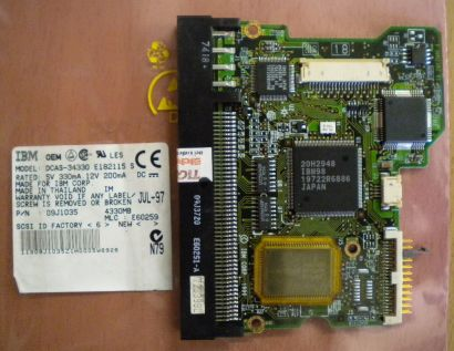 IBM DCAS-34330 E182115 S SCSI 4330MB PCB Controller Elektronik Platine* fe142