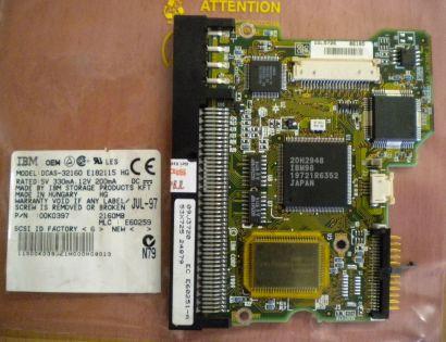 IBM DCAS-32160 E182115 HG SCSI 2160MB PCB Controller Elektronik Platine* fe143