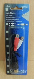Schwaiger TFS 2041 Audio Adapter Kabel 0,2m DIN Stecker 2x Cinch Kupplung* so554