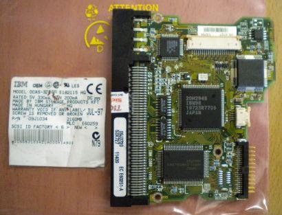 IBM DCAS-32160 E182115 HG SCSI 2160MB PCB Controller Elektronik Platine* fe144