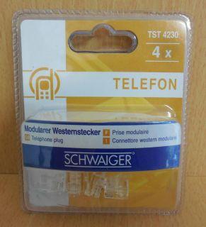 Schwaiger TST 4230 4x Modularer Westernstecker 4 Stück WE RJ11 6 4* so571