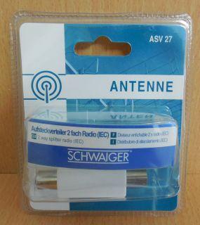 Schwaiger Radio 2-fach Aufsteck Verteiler Koax-Stecker 2x Koax-Kupplung* so576