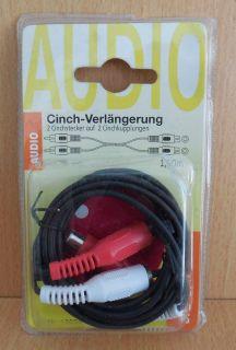BigBalloon Cinch Verlängerung Kabel 1,5m Stereo 2x Stecker - 2x Kupplung* so632
