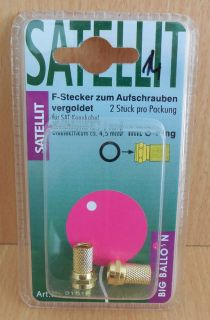 BigBalloon 2x F-Stecker zum Aufschrauben 2 Stück F Stecker für Koax Kabel* so651