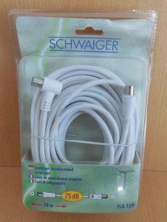 Schwaiger Antennen Empfänger Anschluss Kabel 10m Koax Stecker Winkelbuchse*so655
