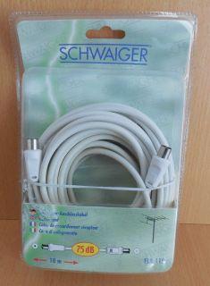 Schwaiger Antennen Empfänger Anschlusskabel Kabel 10m Koax Stecker Buchse* so657