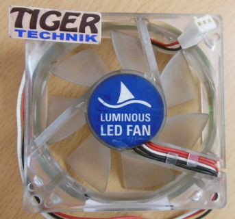 Sharkoon Luminous LED FAN blau 80mm 3-pol Gehäuse Lüfter* gl62