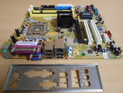 Asus P5L-VM1394 Rev 1.00G P3-PH4C Mainboard +Blende Sockel 775 LAN VGA PCIe*m731