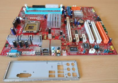 MSI 915P Combo MS-7058 Ver 1 Mainboard +Blende Sockel 775 PCIe SATA FSC OEM*m744