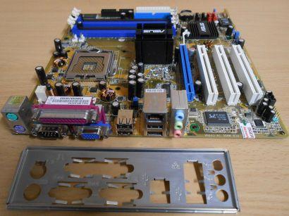 Asus P5GV-MX Rev1.04 Mainboard +Blende Sockel 775 FSB800 DDR SATA PCIe VGA* m767
