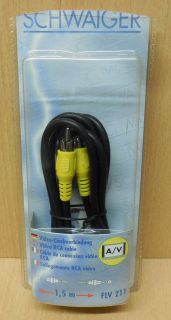 Schwaiger Cinch Video Kabel Koax Composite 1,5m Cinch Stecker - Stecker* so673