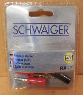 Schwaiger FLV491 4er Set Bananenstecker 4 Stück 2x rot 2x schwarz* so688