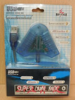 May Flash USB Super Dual Box Playstation 2 Adapter 2 Controller an PC* so698