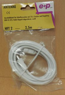 e+p HFT 2 TV Radio Antennenkabel weiß Koax Stecker Koax Kupplung 2,5m* so711