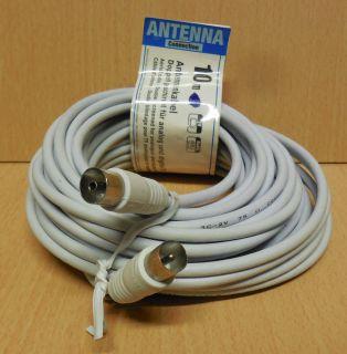 TV Radio Antennenkabel 10m weiß Koax Stecker Kupplung doppelt geschirmt* so727