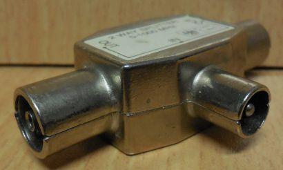TV Zweifachverteiler 2 fach Verteiler metall Koax-Kupplung 2x Koax-Stecker*so728